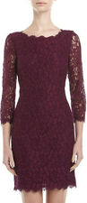 DVF ZARITA Lace V Back Zip Dress  In Purple Rose US sz 6 $325 New!