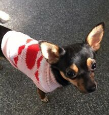 Chihuahua XSmall Christmas Jumper Knitted Sweater Pink Red Heart Pet Dog Clothes