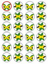 X24 JAMAICA / JAMAICAN NATIONAL FLAG CUP CAKE TOPPER DECORATIONS ON EDIBLE RICE