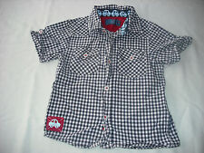 Tu baby boys short sleeve navy gingham check shirt 18-24 months spring summer