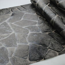 Nature Rustic Vinyl Embossed Textured Rock 3D Effect Stone Wallpaper Roll Black