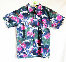"Boy's loud Hawaiian shirt, for 14 year old, 40"" chest, blue GUITAR pattern, new"