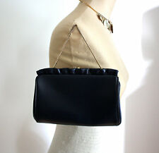 Vtg 1950s 1960s Women's Ruffle Leather Gold Clutch Purse Small Navy Blue