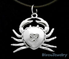 SOLID 925 Steling Silver * 3D CRAB* Marine Ocean Sealife Pendant Necklace