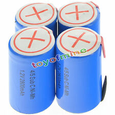 4 pcs 4/5 SubC Sub C 2800mAh 1.2V Ni-Mh Rechargeable Battery Blue Cell with Tab