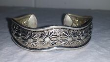 Vintage Silverplate Bracelet with Embossed Flowers - Sun Pattern