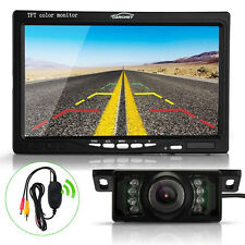 """Wireless 7"""" TFT LCD Car Rearview Reverse Monitor Parking Backup LED IR Camera"""