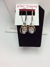 $35 Betsey Johnson Jewelry Halloween Cameo Skull Shepherds Hook Drop Earrings B1