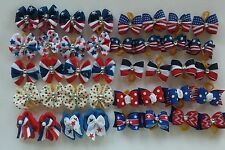40 pcs Patriot July 4th Rubber band hair bows for dog cat pet grooming handmade
