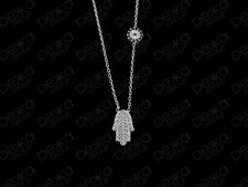 925 Sterling Silver Gold Rose Hamsa Hand Fatima Evil Eye Mati Nazar CZ Necklace