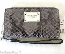 NEW MICHAEL KORS ELECTRONIC SLATE PYTHON LEATHER ZIP AROUND CASE,WALLET,WRISTLET