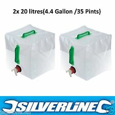2 x 20L Water Carrier Container Foldable Collapsible With Tap Camping Bottle