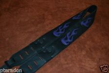 Carlino Custom Purple Leather Flame Black Leather Guitar Strap dual adjusting