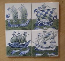 Four Interesting and unusual vintage Decorative Sailing Ship Tiles
