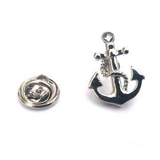 SILVER & BLACK ANCHOR bavero pin badge BARCA MARINAIO MARINA MARE NAVE MARINAIO REGALO NUOVO