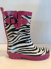 GYMBOREE Pink & Black Zebra Waterproof Rain Boots Girls 2
