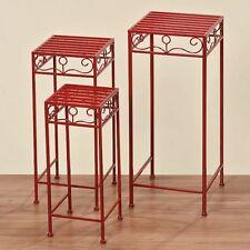 Pflanzentisch CAPRI, Eisen,rot, 3er Set, Blumentisch, Beistelltisch