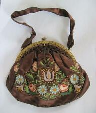Early 20th Century French Hand Embroidered Floral Brown Silk Purse