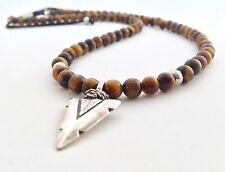 Men's Beaded Tiger's Eye Sterling Silver 925 Arrowhead Tribal Jewelry Necklace