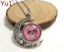 NEW Handmade pink sugar skull Hollow Moon Pendant Silver Necklace#CK1