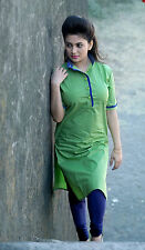 New Indian Parrot Green Cotton Unstitched Designer Kurti