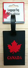 Canada Maple Leaf Luggage Tag with ID - Black