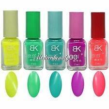 5 PCS Mix Color Nail Art Fluorescent Polish Varnish Fashion Party Girl BK-2 Set