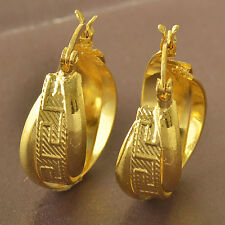 Retro style fashion jewelry 9K Yellow Gold Filled Womens Hoop Earrings F5173