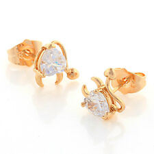 Hot 18K Yellow Gold Filled Heart Crystal Womens Lovely Small Demon Stud Earrings