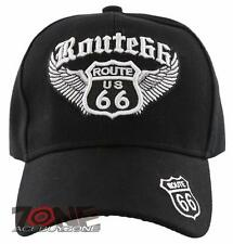 NEW! US ROUTE 66 BIG WING BALL CAP HAT BLACK