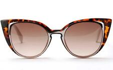 Fashion Women's Retro Cat Eye Sunglasses Designer Leopard Frame/ Brown Lens