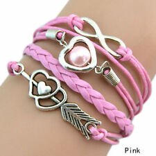 Infinity Love Heart Pearl Friendship Antique Silver Leather Charm Bracelet @5