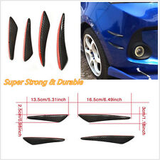 4Pcs/Set Black Real Carbon Fiber Car Pickup Front Bumper Fins Lip Canards Decal
