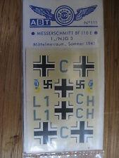 1/72 ABT DECAL N°115 MESSERSCHMITT BF 110 E 1./NJG3 MEDITERRANNEE 1941