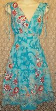 Turquoise Bright Floral Fit & Flare Sleeveless Cruise Sun Dress L Cotton New