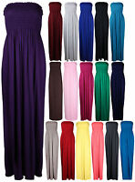 Womens New Strapless Bandeau Ladies Shearing Boob Tube Long Maxi Dress Plus Size