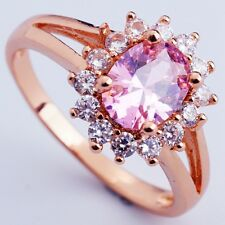 Size 5 PINK C.Z FASHION FLOWER DESIGN Women ROSE GOLD PLATED RINGS H2501