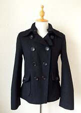 Guess Womens Black Wool Blend Double Breasted Pea Coat Jacket  Size M