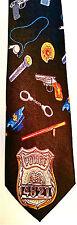 Police Shield Necktie Law Enforcement Cop Uniform Badge Neck Tie Necktie Black