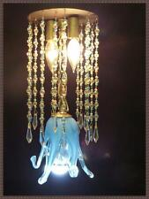 Italian Murano Ceiling Light Fixture Leaded Crystals Blue Sky Shade Flush Mount