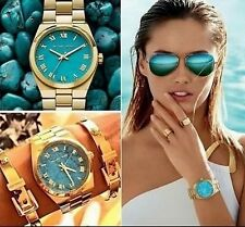 NWT MICHAEL KORS MK5894 TURQUOISE CHANNING GOLD-TONE STEEL WOMEN'S WATCH