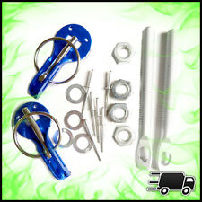 Blue Universal Bonnet Boot Hood Clips Pin Kit Aluminium Pair Slide Race Alloy
