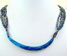 "Handmade 4"" Crescent Blue Paua Abalone Shell Beads necklace 22"" length ; BA362"