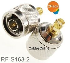 2-Pack N-Type Male to RP-SMA Reverse Polarity Female RF Adapters, RF-S163-2