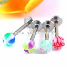 20x Mixed Stainless Steel 16G UV Plastic Ball Lip Labret Stud Ring Piercing Punk