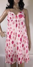Sisly Party Dress Pink And White Polka Dot Pleated Valentine's Day - Small