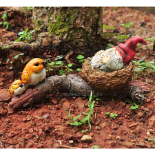 Miniature Garden Gnome Napping in Bird Nest 4266 Fairy Garden Dollhouse