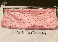 RARE - St. John Swarovsky Studded Pink Satin Chain Strap Evening Bag Or Clutch!