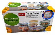 18 PC SNAPWARE PYREX Glassware Glasslock Storage Food Keeper Containers Lids Set