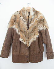 ANNA FURS VTG 80s Coat Suede Leather Fox Fur Bomber Jacket Boho Brown OS 42